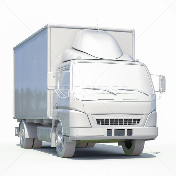 Foto d'archivio: 3D · bianco · camion · di · consegna · icona · rendering · 3d · servizio