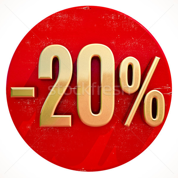 Gold 20 Percent Sign on Red Stock photo © Supertrooper