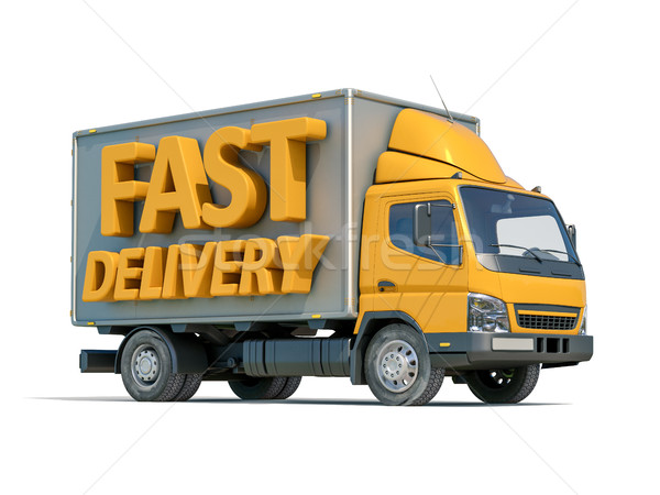 Teslim kamyon ikon 3d render sarı kamyon 3D Stok fotoğraf © Supertrooper