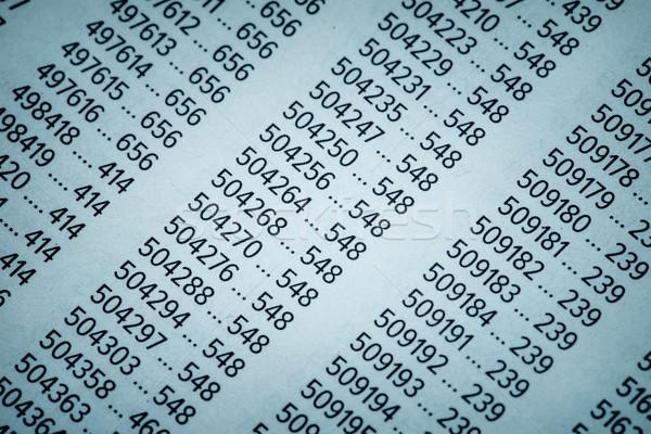 Pénzügyi adat számok táblázat bank könyvelés Stock fotó © Supertrooper