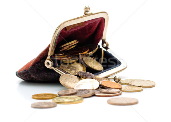 Purse and coins isolated Stock photo © Supertrooper
