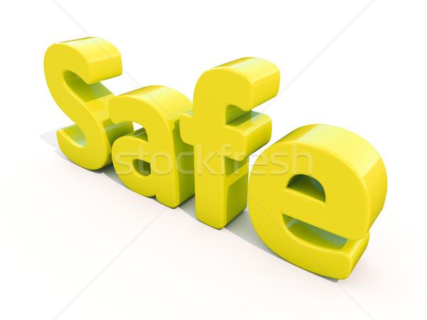 3D kelime güvenli ikon beyaz 3d illustration Stok fotoğraf © Supertrooper