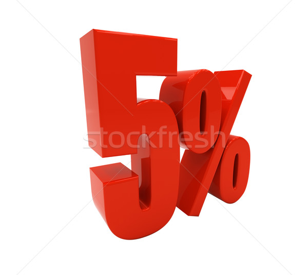 Stock photo: 3D 5 percent isolated on white