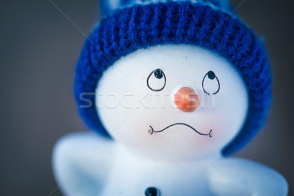 Aranyos hóember fa asztal boldog karácsony új év Stock fotó © Supertrooper
