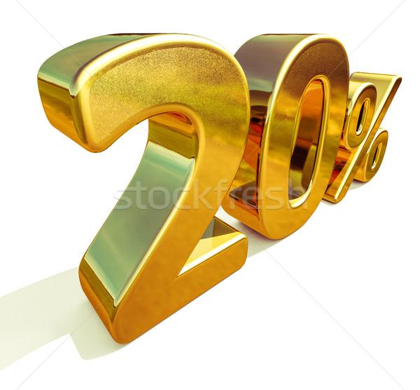 3D goud 20 twintig procent korting Stockfoto © Supertrooper