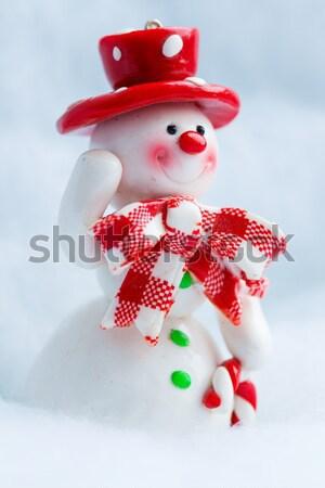 Derűs hóember fehér tél játék üdvözlet Stock fotó © Supertrooper