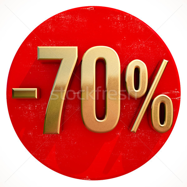 Gold 70 Percent Sign on Red Stock photo © Supertrooper