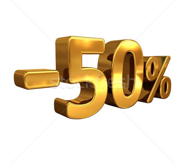 3D ouro 50 menos cinqüenta por cento Foto stock © Supertrooper