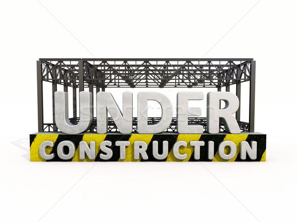 építkezés felirat izolált fehér üzlet épület Stock fotó © Supertrooper