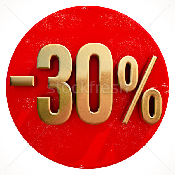 Gold 30 Percent Sign on Red Stock photo © Supertrooper