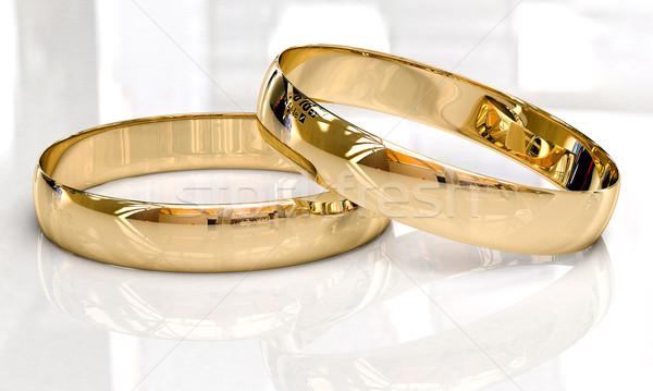 Jegygyűrűk fény tükröződések esküvő szeretet házasság Stock fotó © Supertrooper