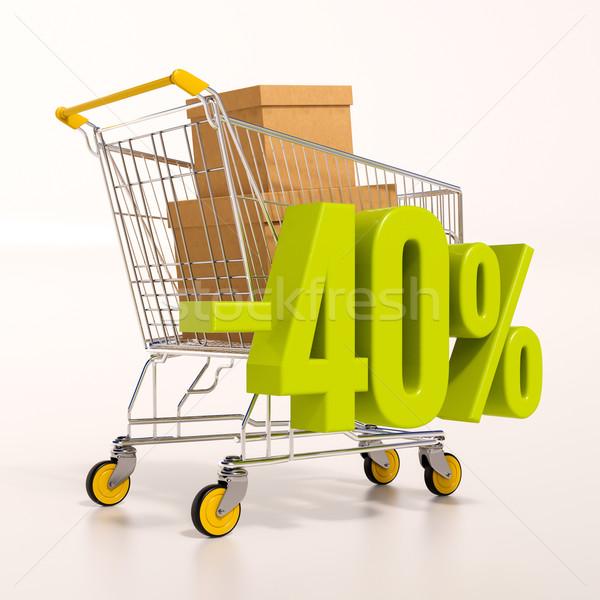 Carrinho de compras 40 por cento 3d render verde percentagem Foto stock © Supertrooper