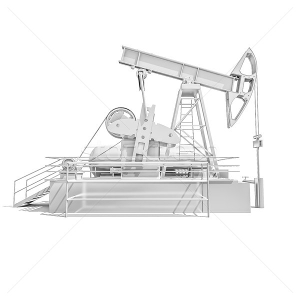 Oil Drilling Rig on White Background Stock photo © Supertrooper