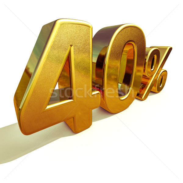 3d Gold 40 Forty Percent Discount Sign Stock photo © Supertrooper