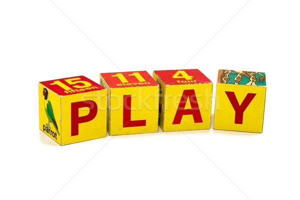Stockfoto: Spelen · woord · kinderen · bouw · gebouwen · speelgoed