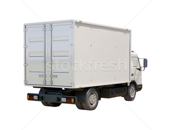 Stockfoto: Witte · commerciële · vrachtwagen · geïsoleerd · kleur · vervoer
