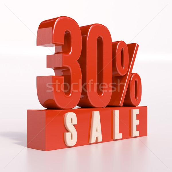 Stok fotoğraf: Yüzde · imzalamak · 30 · yüzde · 3d · render · kırmızı