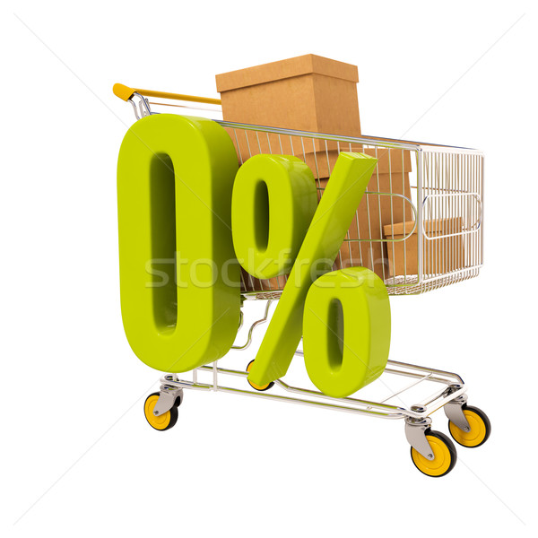 Shopping cart and 0 percent isolated on white Stock photo © Supertrooper