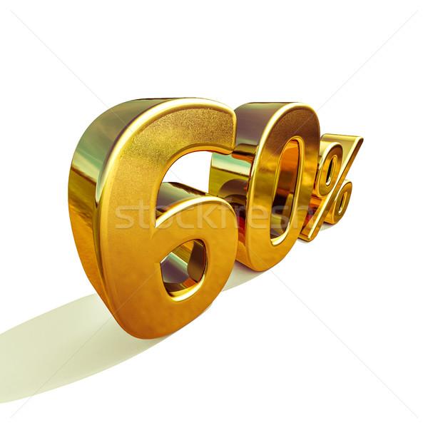 3D altın 60 altmış yüzde indirim Stok fotoğraf © Supertrooper