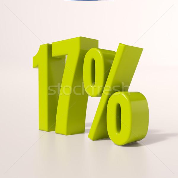 Percentage teken 17 procent 3d render groene Stockfoto © Supertrooper