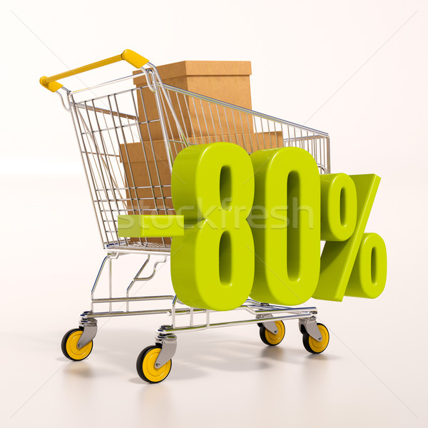 Stock photo: Shopping cart and 80 percent