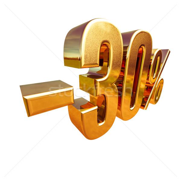 3D oro 30 por ciento descuento signo Foto stock © Supertrooper