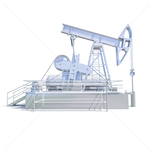 Stock photo: Oil Drilling Rig on White Background
