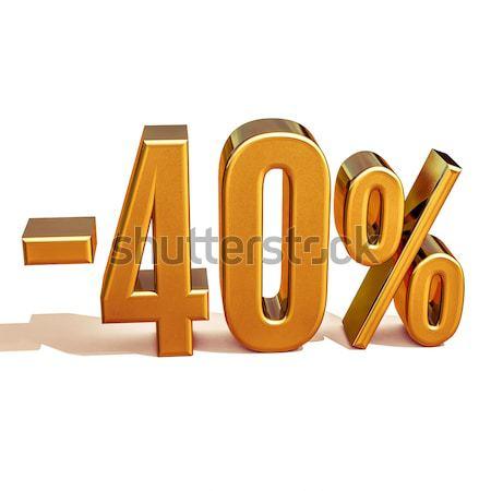 Złota 40 minus czterdzieści procent zniżka Zdjęcia stock © Supertrooper