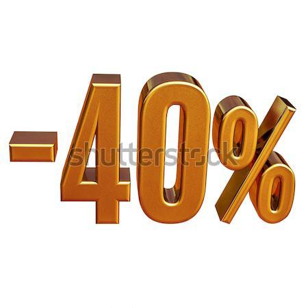 Altın 40 eksi kırk yüzde indirim Stok fotoğraf © Supertrooper