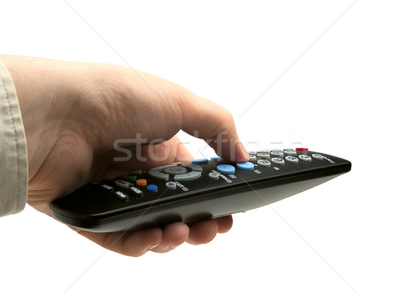 Hand with TV remote isolated Stock photo © Supertrooper