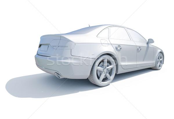 3D Auto weiß Vorlage 3d render Symbol Stock foto © Supertrooper