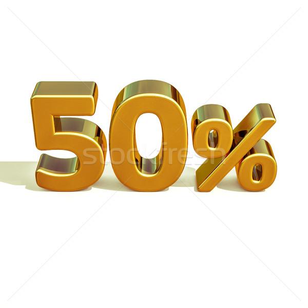 3D ouro 50 cinqüenta por cento assinar Foto stock © Supertrooper