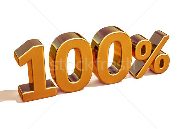3D goud 100 honderd procent korting Stockfoto © Supertrooper