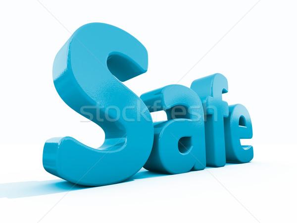 3D palabra segura icono blanco 3d Foto stock © Supertrooper