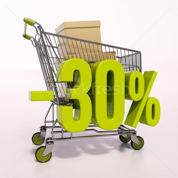 Stok fotoğraf: Alışveriş · sepeti · yüzde · imzalamak · 30 · yüzde · 3d · render