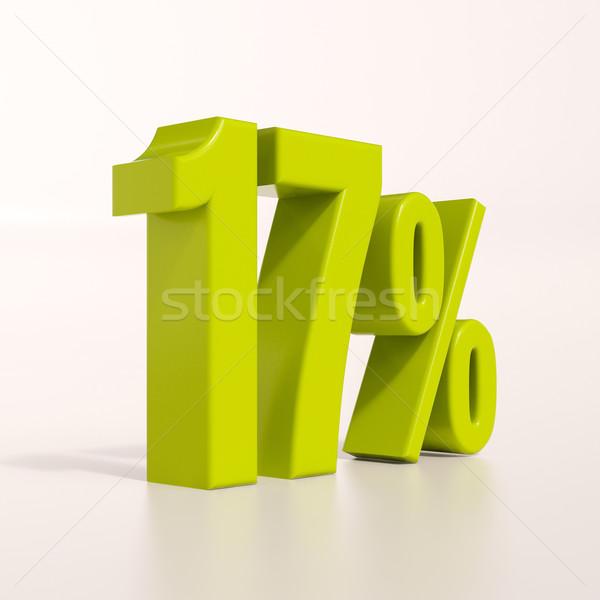 Porcentaje signo 17 por ciento 3d verde Foto stock © Supertrooper