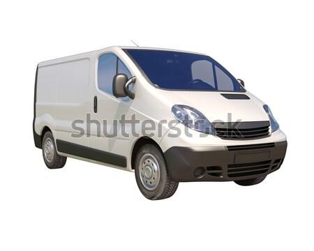 Fehér kereskedelmi kisteherautó izolált szín szállítás Stock fotó © Supertrooper