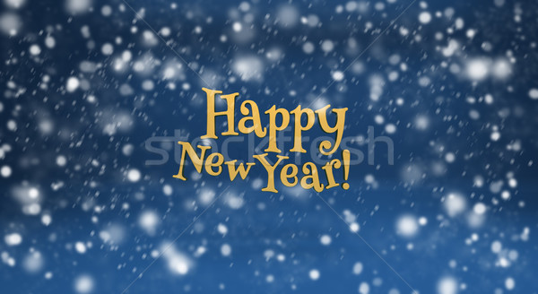Happy New Year and snow on blue background Stock photo © Supertrooper