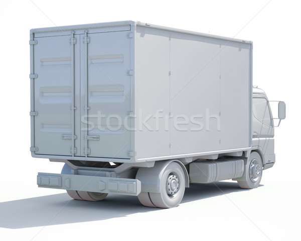 3d White Delivery Truck Icon Stock photo © Supertrooper