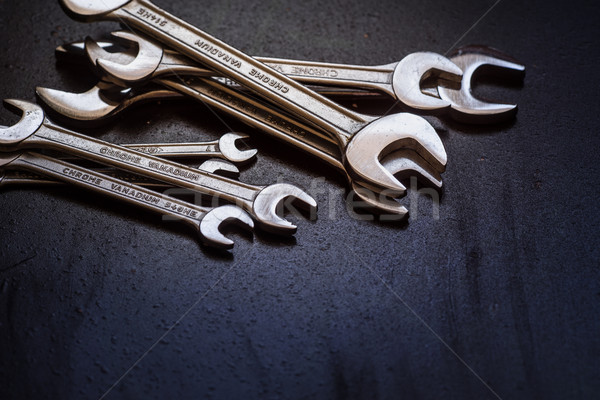 Set of the stainless steel wrench Stock photo © Supertrooper