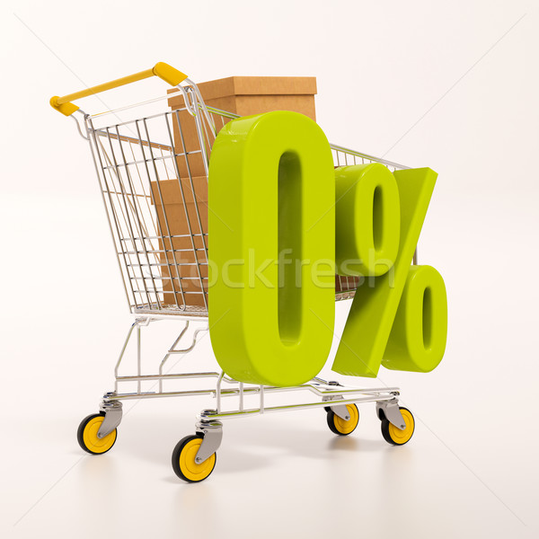 Shopping cart and 0 percent Stock photo © Supertrooper