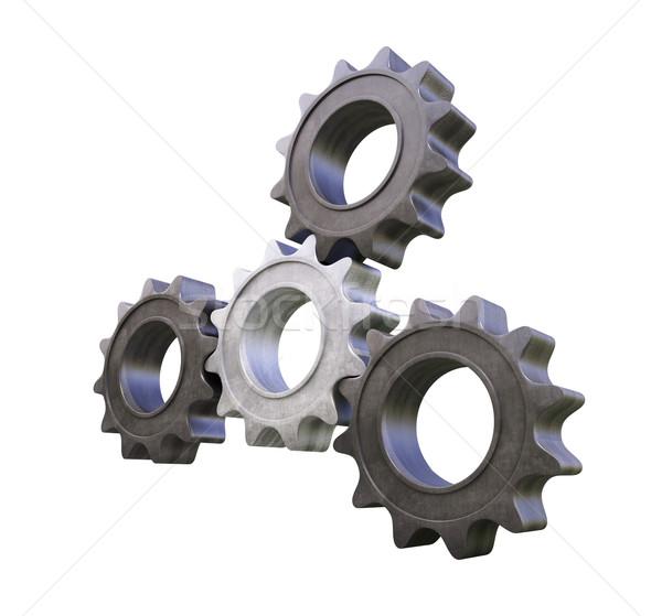металл 3D передач белый четыре Сток-фото © Supertrooper