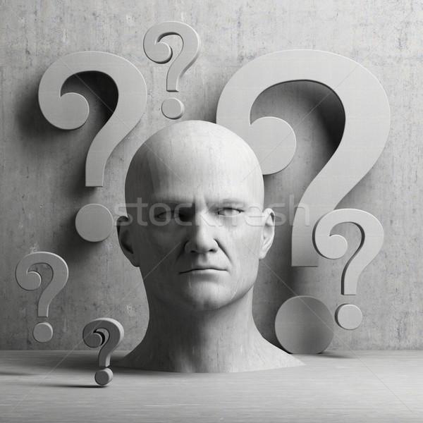 мышления человека статуя вопросительный знак серый Сток-фото © Supertrooper
