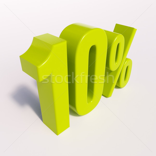 Percentagem assinar 10 por cento 3d render verde Foto stock © Supertrooper