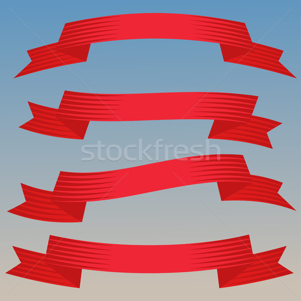 Stock photo: Ribbon Banners Set on Blue