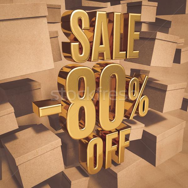 Goud procent teken 80 af korting Stockfoto © Supertrooper