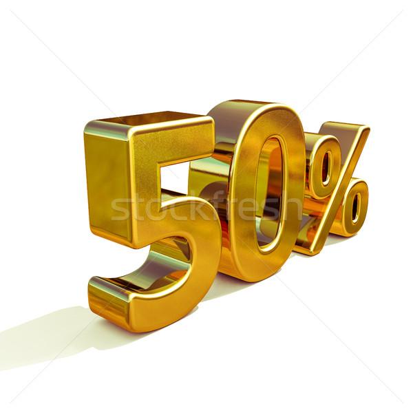3D arany 50 százalék felirat 3d render Stock fotó © Supertrooper