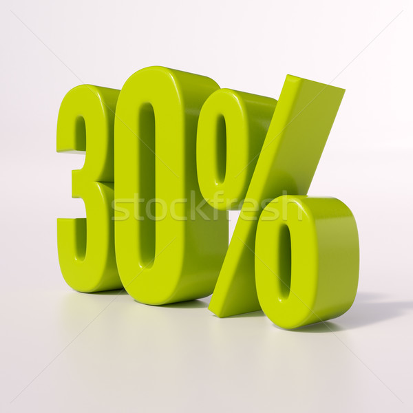 Foto stock: Percentagem · assinar · 30 · por · cento · 3d · render · verde