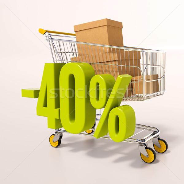 Bevásárlókocsi 40 százalék 3d render zöld százalék Stock fotó © Supertrooper
