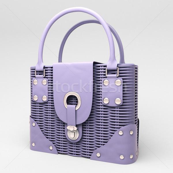 Liliowy wiklina torebka świetle moda Zdjęcia stock © Supertrooper